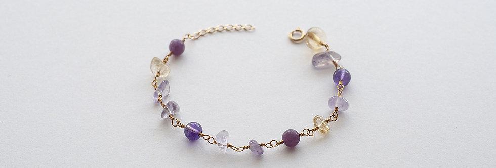 "Bracelet Luna ""Améthyste / Lepidolite violette / Amétrine / Citrine"""