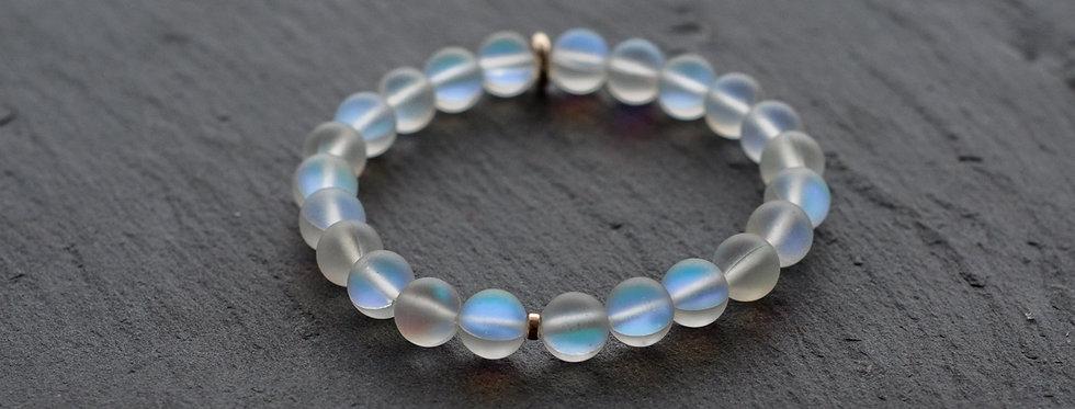 Bracelet d'Apaisement et d'Intuition, Cristal de Roche Bleuté