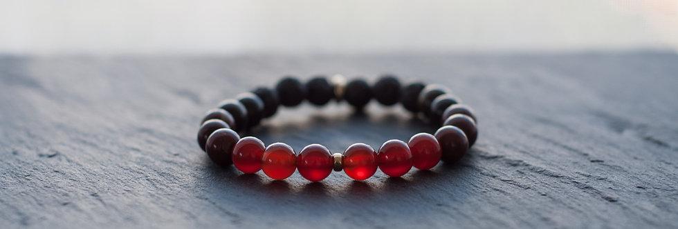 Bracelet Homme de Vitalité et Protection, Cornaline Rouge