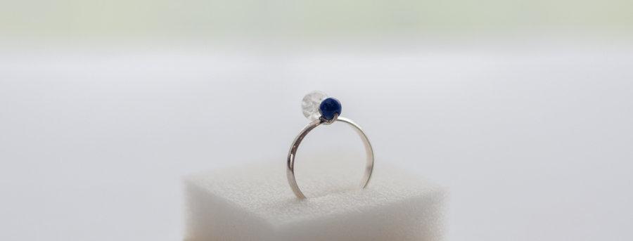 """Bague Lilla  """"Lapis Lazuli / Cristal de Roche"""""""
