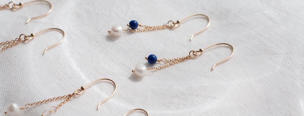 """Boucles Leila  """"Lapis Lazuli & Perle d'eau douce"""""""