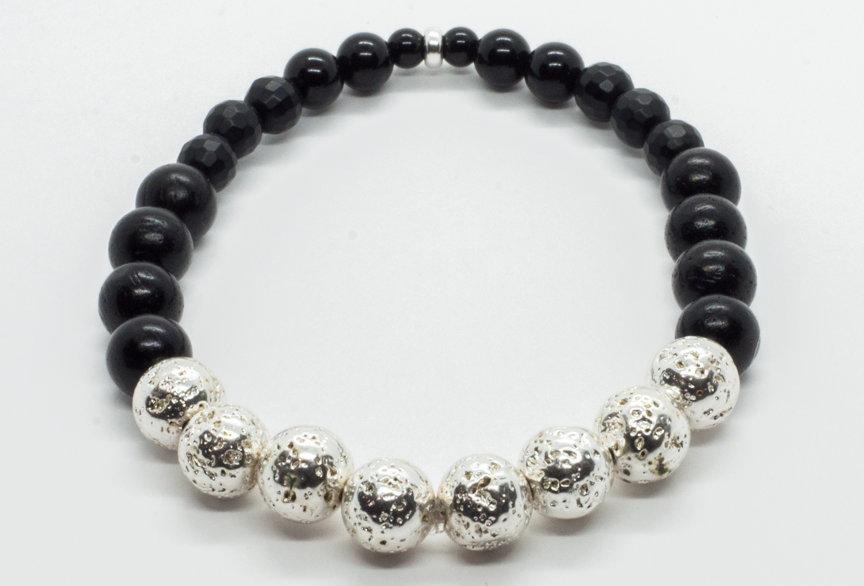 Bracelet Pierre de Lave Argenté / Agate Noire / Ébène noir