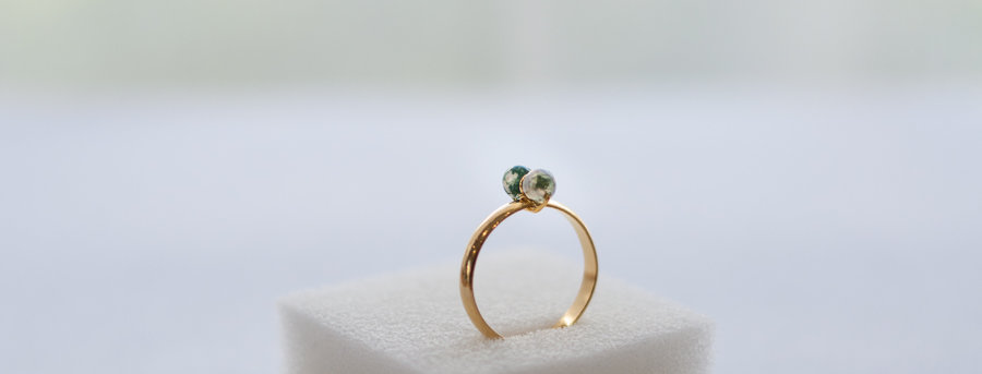 "Bague Lilly  ""Agate Mousse Verte"""