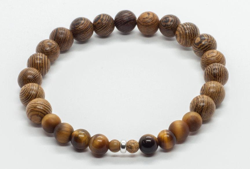 Bracelet Bois de Wengé & Oeil de Tigre