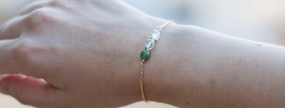 """Grazia  """"Jade / Quartz Rutilé Vert / Cristal de Roche"""""""
