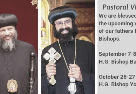 Upcoming Pastoral Visits