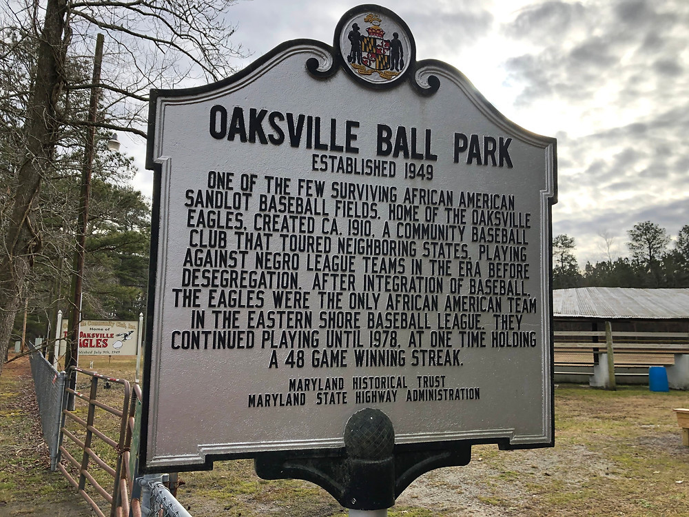 This is a picture of the historical marker for the Oaksville Eagles.