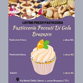 Grafica Listino Prezzi Pasticceria Pecca