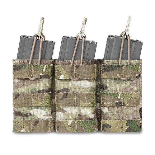Triple MOLLE Open 5.56mm Mag/Bungee Retention - 3 Mags MultiCam