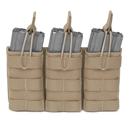 Triple MOLLE Open 5.56mm Mag/Bungee Retention - 3 Mags Coyote Tan