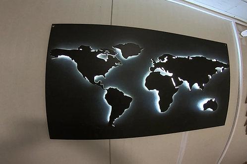 Mapa świata podświetlana LED