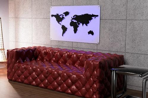 Mapa świata podświetlana LED biała