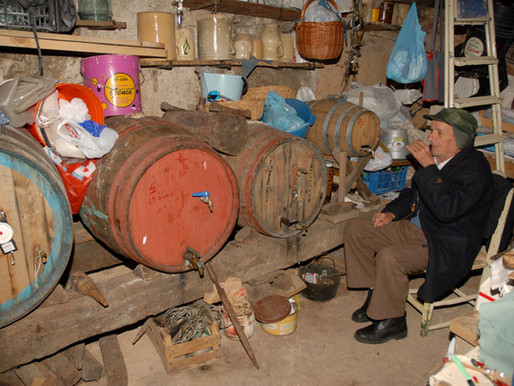 The wine in the catoja of Badolato, Southern Italy, as trait d'union between past and present