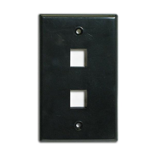 Flush Wallplate for 2 Keystone Jacks - Black