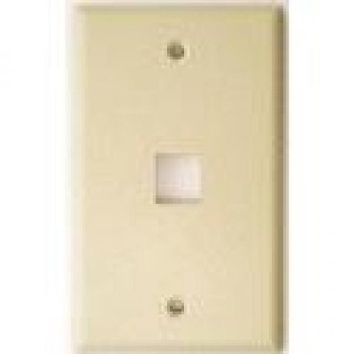 Flush Wallplate for Single Keystone Jacks - Ivory
