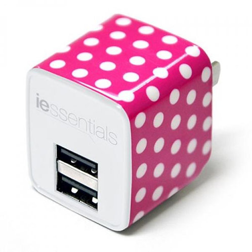 Dual USB Port Wall Charger - Pink Dots