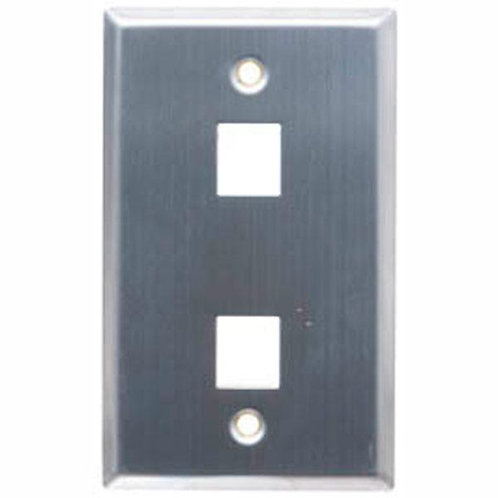 Flush Wallplate for 6 Keystone Jacks - Silver Metal