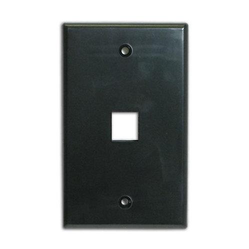 Flush Wallplate for Single Keystone Jack - Black
