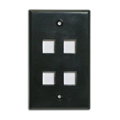 Flush Wallplate for 4 Keystone Jacks - Black