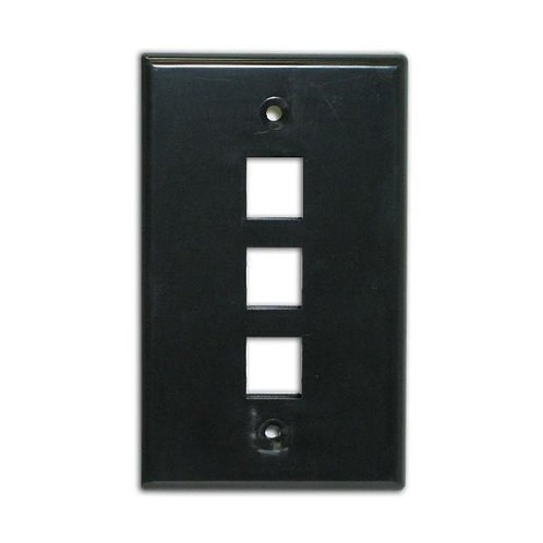 Flush Wallplate for 3 Keystone Jacks - Black