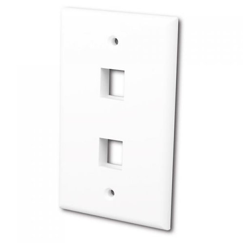 Flush Wallplate for 2 Keystone Jacks - Bright White