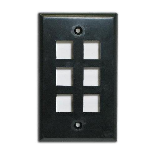 Flush Wallplate for 6 Keystone Jacks - Black