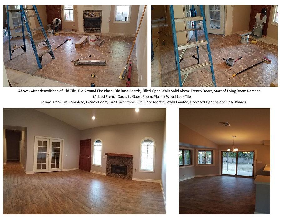 Living Room Remodel - French Doors, Tile, Fire Place, and Recessed Lighting - Champion Construction Company