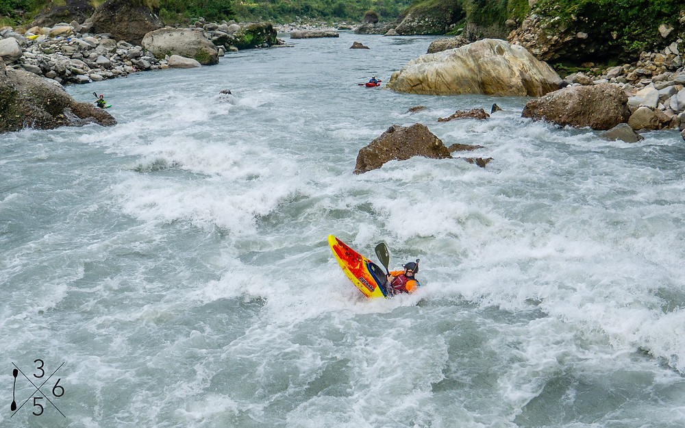 Big Brother is one of the highlight rapids of the Kali Gandaki, a beautiful river that winds its way from the high Himalaya in Nepal. We got this action shot on the Nepal Multi-River trip in 2019 with Paddle365!