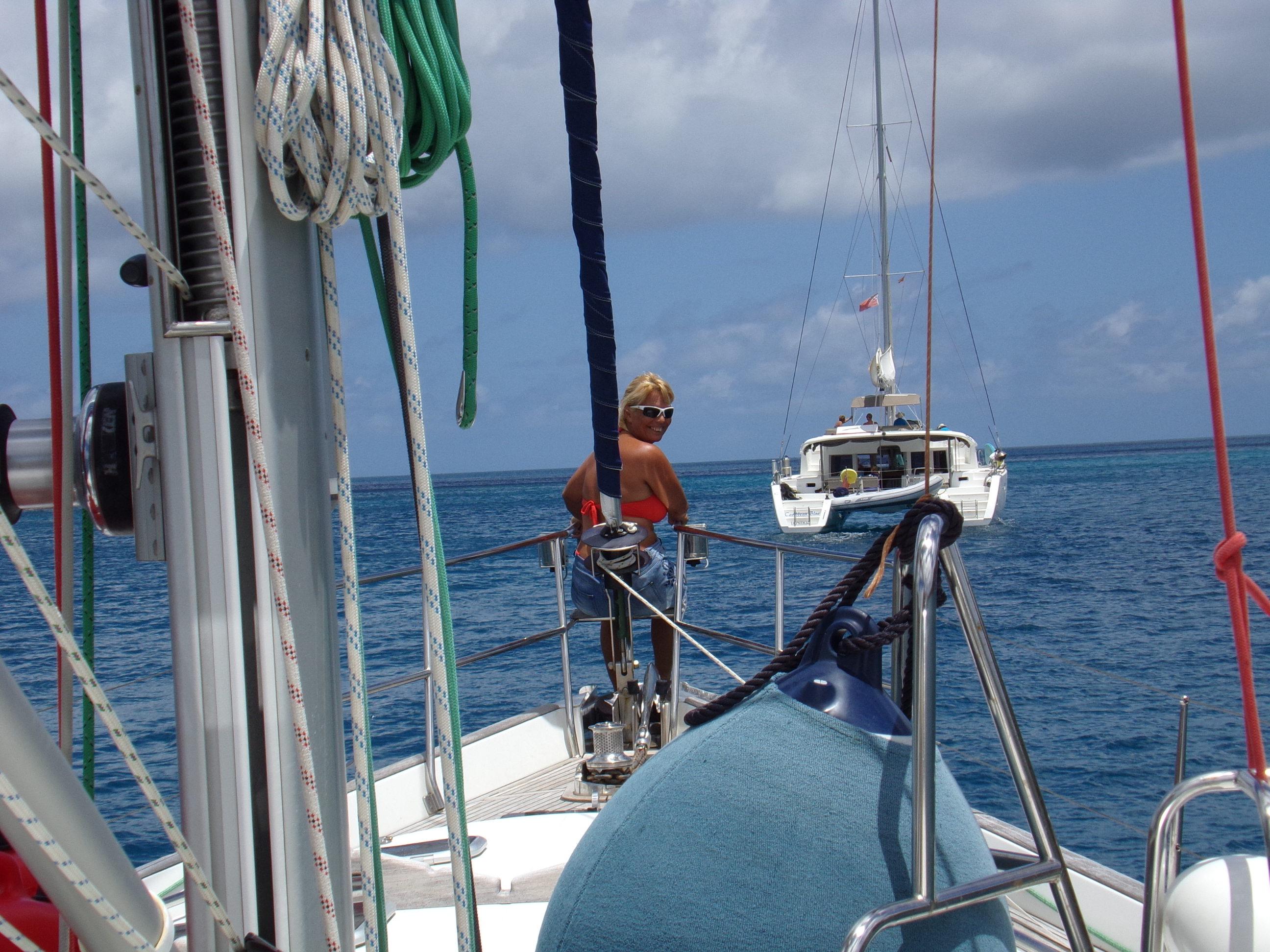 Fiona on the bow
