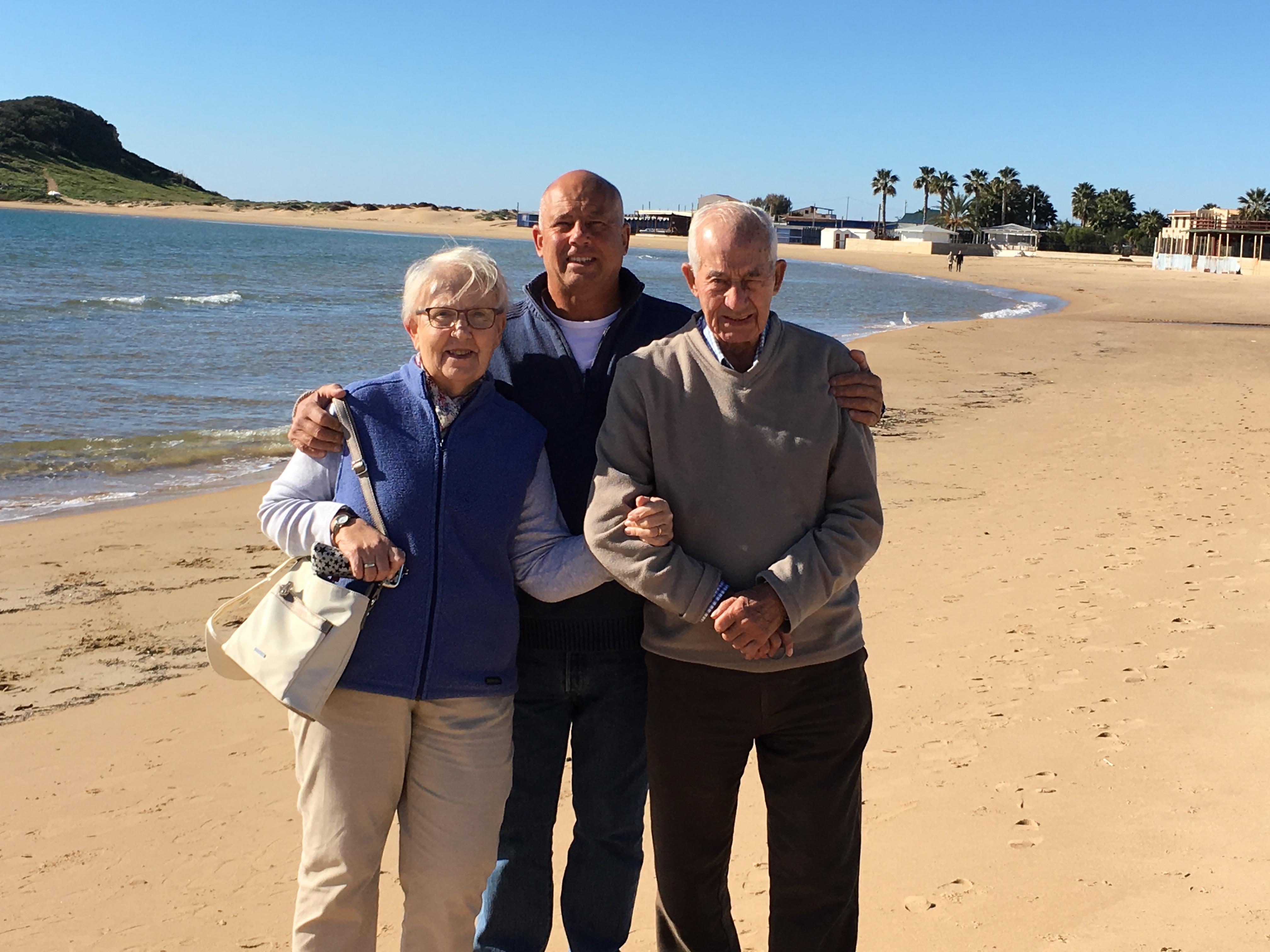 Beach walk with Betty and John