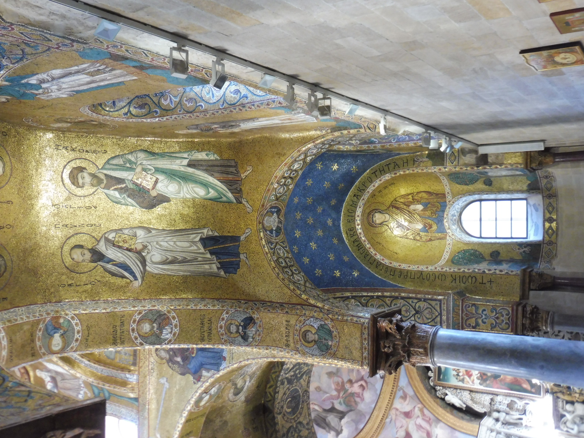 Church ceilings in gold mosaic