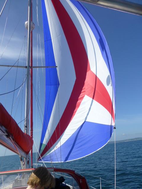 Kite up Sailing to Salcombe 1.JPG