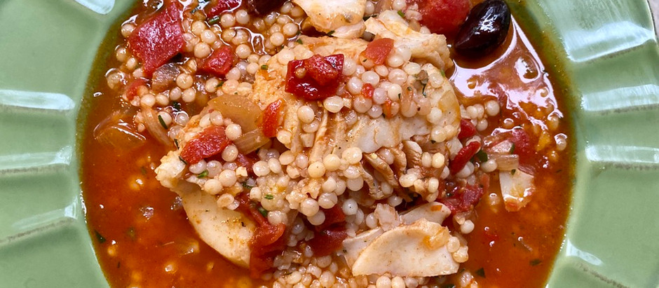 White Fish with Tomato, Olives and Couscous