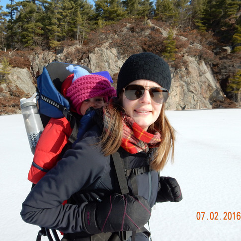 Katie with Esther on her back hiking