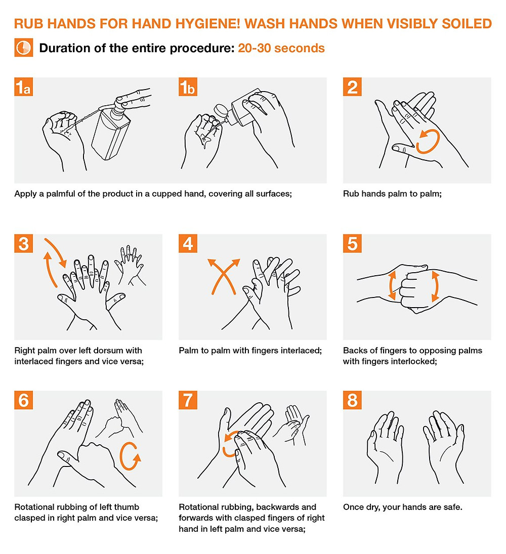 Diagram on how to use hand sanitizer properly
