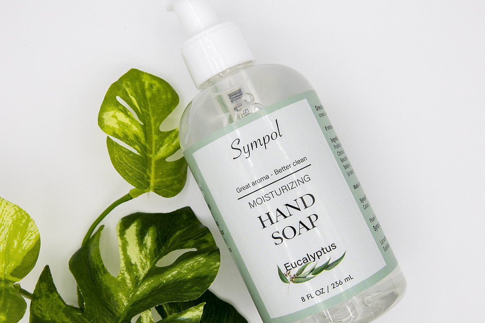 Eucalyptus hand soap and plant