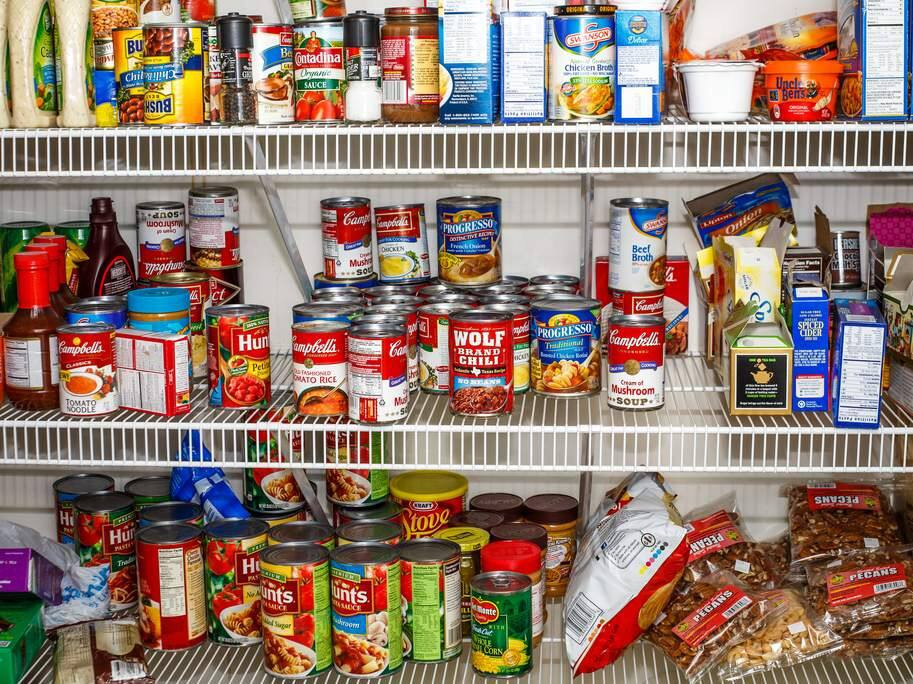 Pantry stocked with goods