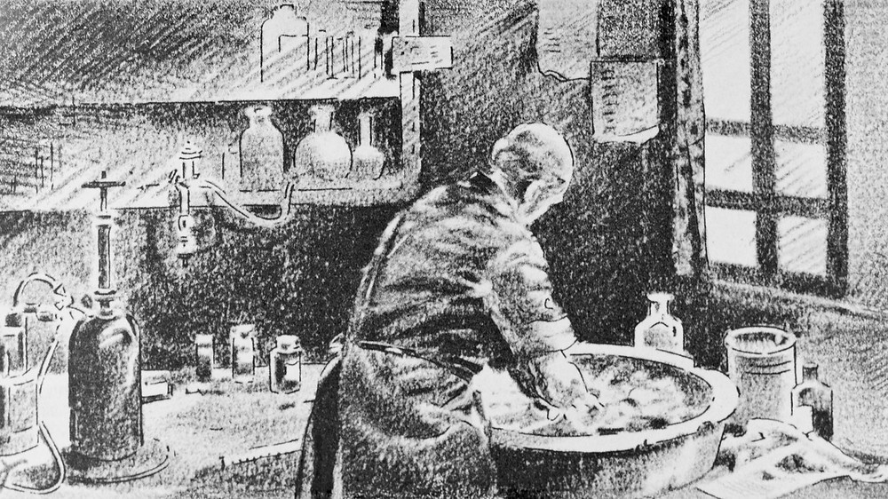 Ignaz Semmelweis washing his hands in chlorinated lime water before operating. Bettmann/Corbis