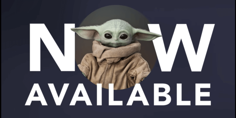 picture of baby Yoda on an available now sign