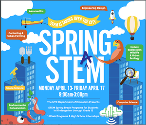 Spring STEM Flyer, Applications held April 13 through April 17 from 9:00 AM to 3:00 PM