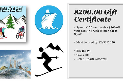 $200 Gift Certificate for $150!