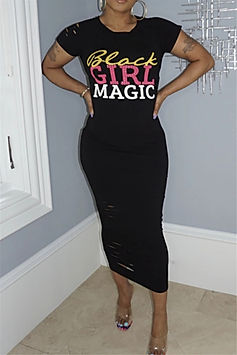 Black Girl Magic Midi Dress-Black-Front.
