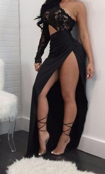 Shana Lace High Split Dress