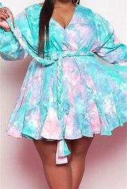 Tie-Dye V-Neck Mini Dress