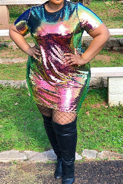 Colorful Sequined Mini Dress