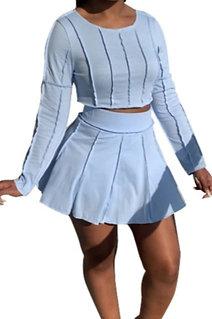 Long Sleeve Pleated Skirt Set