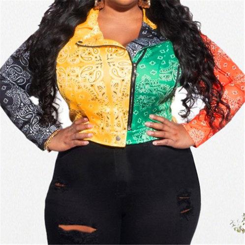 Multicolor Paisly Biker Jacket