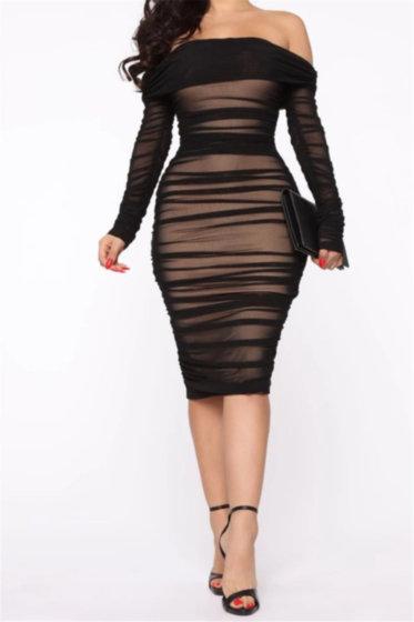 Elegant Pleated Slim Dress