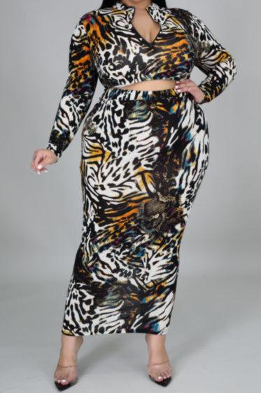 Leopard High Waist Skirt Set