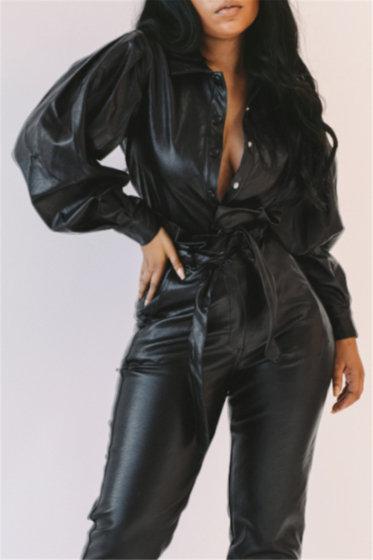 PU Leather Shirt Jacket